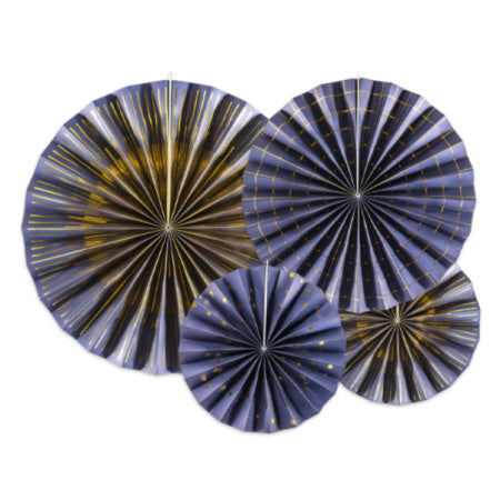 Luxury Navy and Gold Rosette Fans I Navy and Gold Party I UK