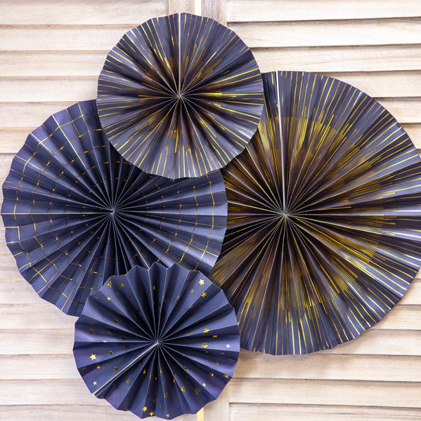 Navy and Gold Rosette Fans Set of 4 I Navy Party Decorations I My Dream Party Shop I UK
