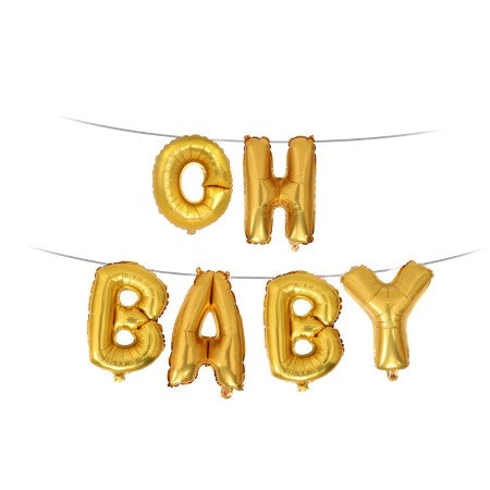 """Oh Baby"" Gold Phrase Balloon Bunting I Modern Baby Shower Decorations & Balloons I My Dream Party Shop I UK"