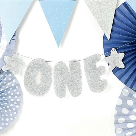 One Silver Birthday Banner I My Dream Party Shop I UK