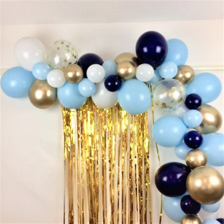 Blue, White and Chrome Gold Balloon Garland Kit I Balloon Cloud Kits I My Dream Party Shop UK