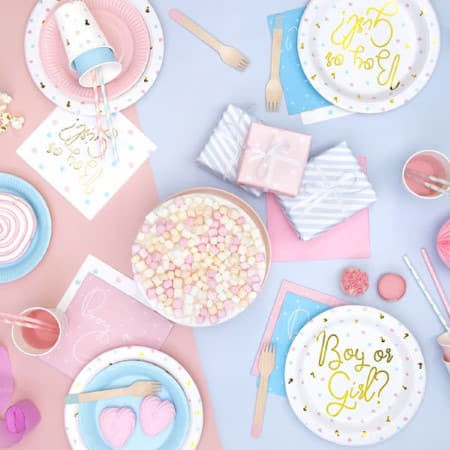 Pale Pink Party Plates for Gender Reveal Party I UK
