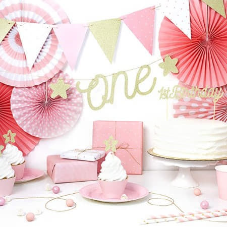 Pale Pink Party Plates for First Birthday Party I UK