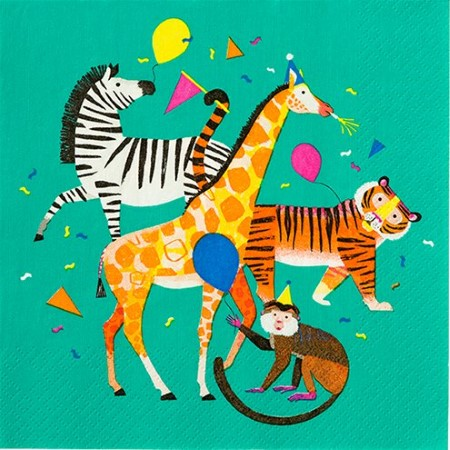 Party Animals Napkins I Stunning Animal Design featuring a Zebra, Giraffe, Tiger and Monkey I UK