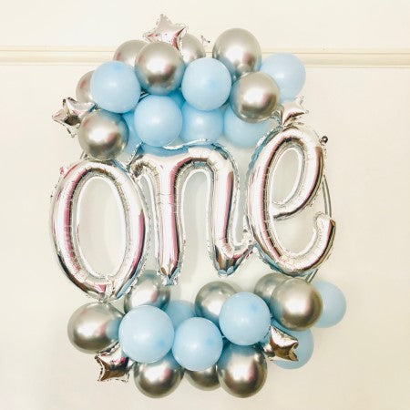 Chrome Silver and Pastel Blue Balloon Hoop Kit