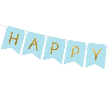 Pastel Blue and Gold Happy Birthday Bunting I Blue Party Decorations I My Dream Party Shop UK