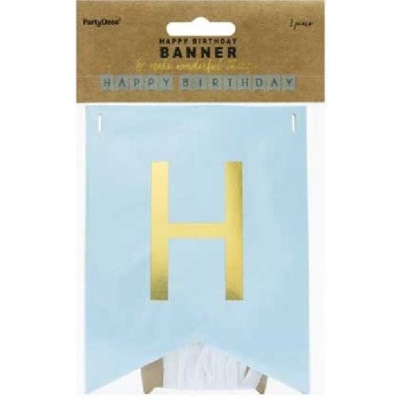 Pastel Blue and Gold Happy Birthday Bunting I Pastel Blue Party Supplies I My Dream Party Shop UK