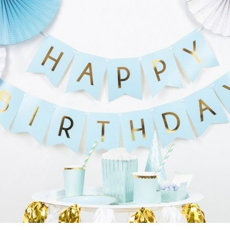 Pastel Blue and Gold Happy Birthday Bunting I Pastel Blue Party Decorations I My Dream Party Shop UK
