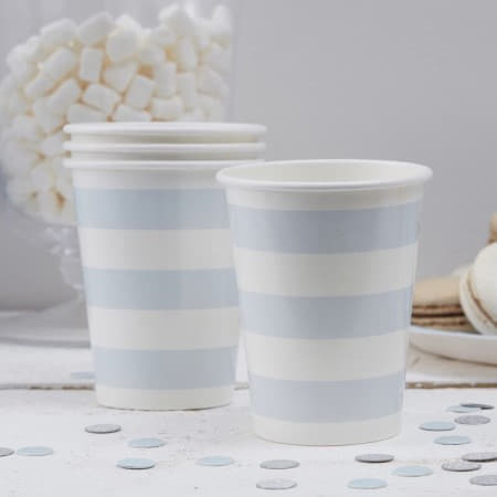 Pastel Blue and White Striped Cups I Pastel Blue Party Tableware I My Dream Party Shop UK