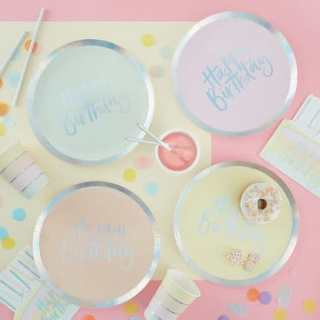 Pastel Happy Birthday Plates I Pastel Party Supplies I My Dream Party Shop UK