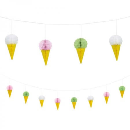 Mini Honeycomb Ice Cream Garland I Summer Party Decorations I My Dream Party Shop UK
