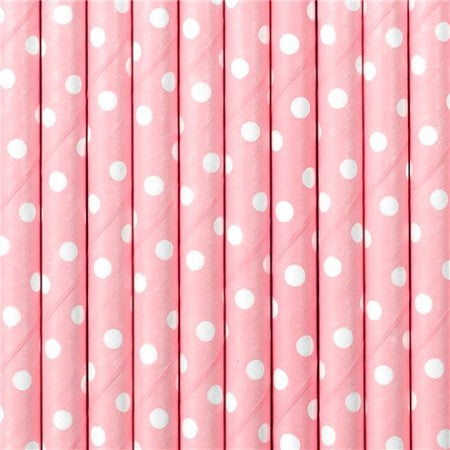 Pastel Pink Polka Dot Straws I Modern Pink Tableware I My Dream Party Shop