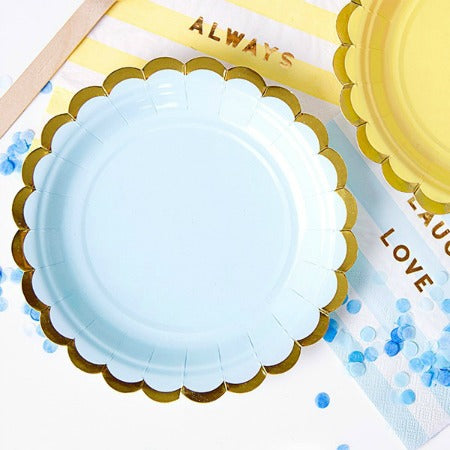 Small Pale Blue with Gold Edge Plate I Pastel Blue Party I My Dream Party Shop I UK