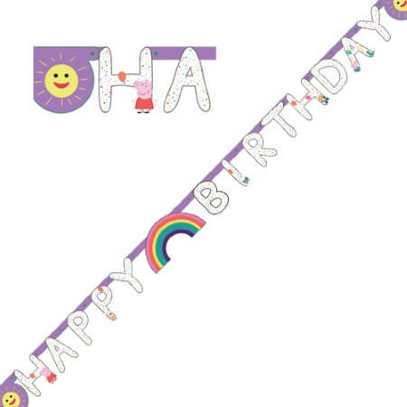 Peppa Pig Happy Birthday Letter Garland I Peppa Pig Party Decorations I My Dream Party Shop UK