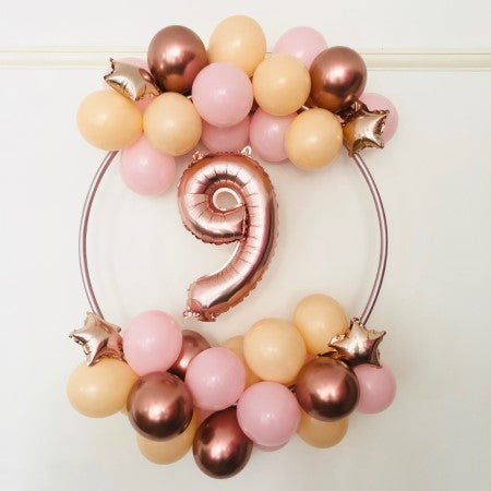 Pink, Blush and Rose Gold Number Balloon Hoop Kit I Balloon Decorations I My Dream Party Shop