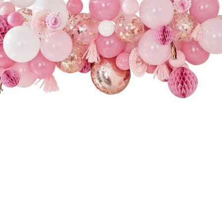 Pink and Rose Gold Balloon and Fan Garland I Modern Party Backdrops I My Dream Party Shop