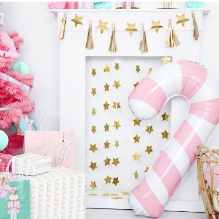 Pink Candy Cane Foil Balloon I Christmas Party Balloons I My Dream Party Shop