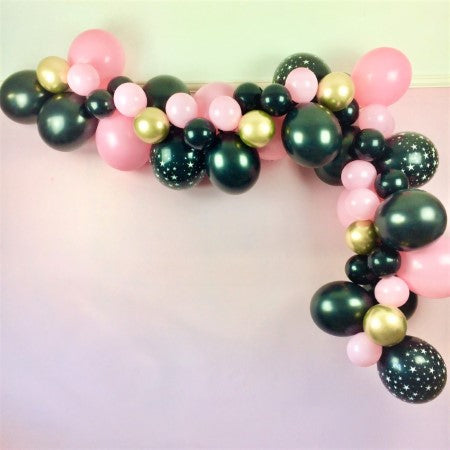 Modern Black, Pink and Gold Chrome Balloon Garland Kit I 16th Party Decorations