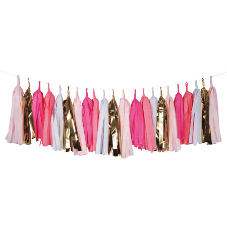 Pink, White & Gold Luxury Tissue Tassel Garland I My Dream Party Shop I UK