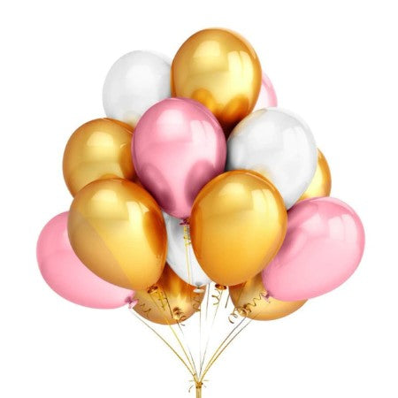 Pink, White and Chrome Gold Balloons I Pretty Balloons for Hen Parties, Baby Showers I My Dream Party Shop I UK