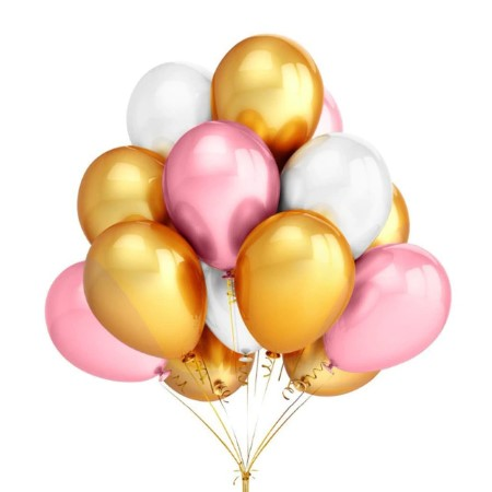 Pink, White and Chrome Gold Balloons I Pretty Party Balloons I My Dream Party Shop I UK