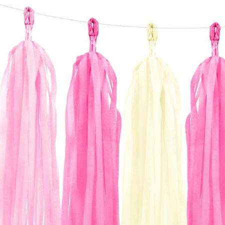 Pink and White Tissue Tassel Garland - My Dream Party Shop