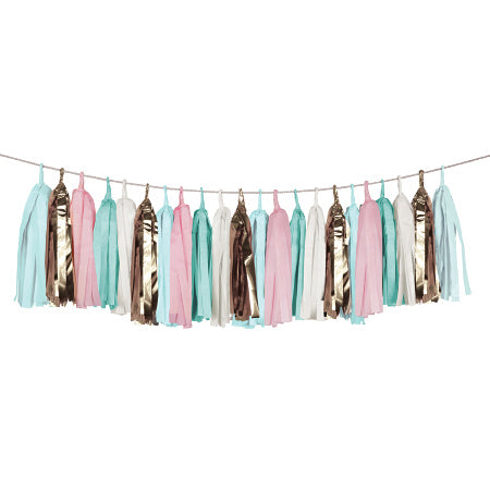 Luxury Green, Blue, Pink, White and Gold Tissue Tassel Garland - My Dream Party Shop