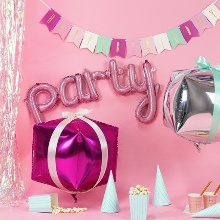 Pink Party Word Balloon I Fun Foil Balloons I My Dream Party Shop UK