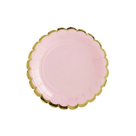 Small Pastel Pink Plates with Gold Scalloped Edge I Pretty Pastel Tableware I My Dream Party Shop I UK