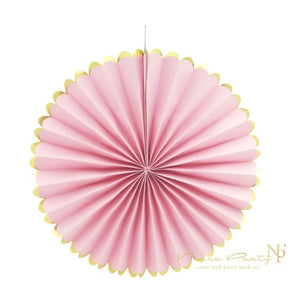 Pale Pink Tissue Rosette Fans with Gold Foil Border I Gorgeous Pink Decorations I My Dream Party Shop I UK