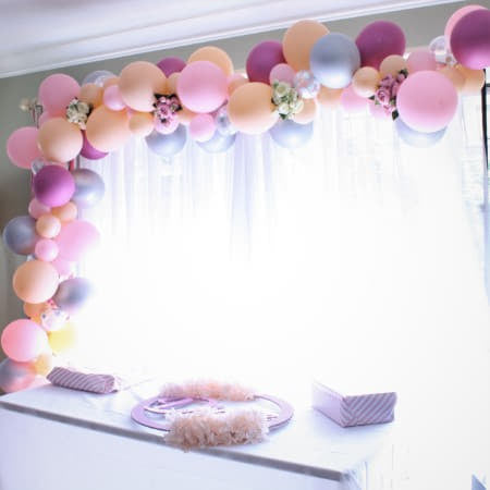 Pink, Silver and Blush Balloon Garland Kit I Modern Balloon Decorations I My Dream Party Shop UK