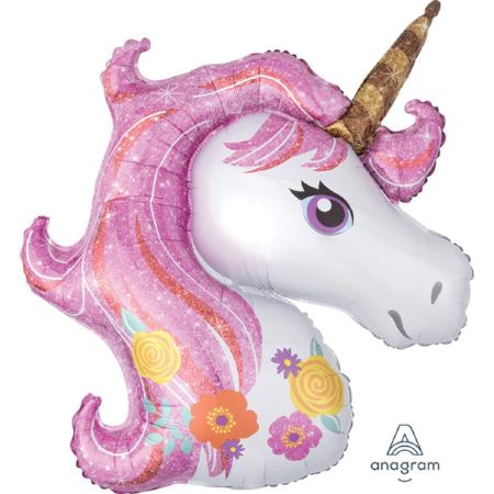 "Giant Pink Unicorn Head 33"" Supershape Large Foil Balloon My Dream Party Shop"