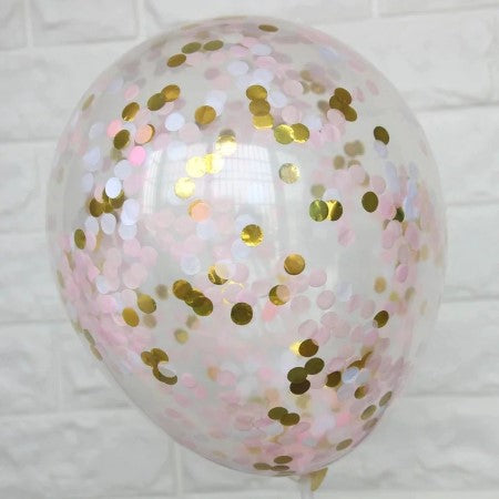 Pink, White and Gold Confetti Balloons I Pretty Pink Balloons I My Dream Party Shop I UK