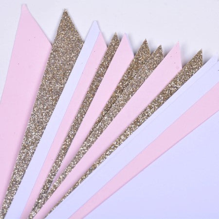 Gold, Pink and White Glitter Triangular Bunting I Cool Decorations I My Dream Party Shop I UK