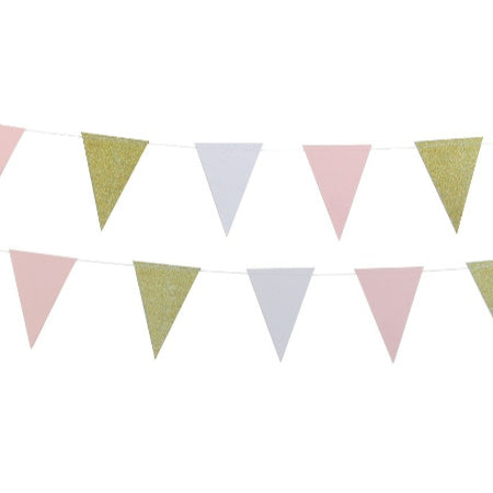 Gold, Pink and White Glitter Triangular Bunting I Pretty Decorations I My Dream Party Shop I UK