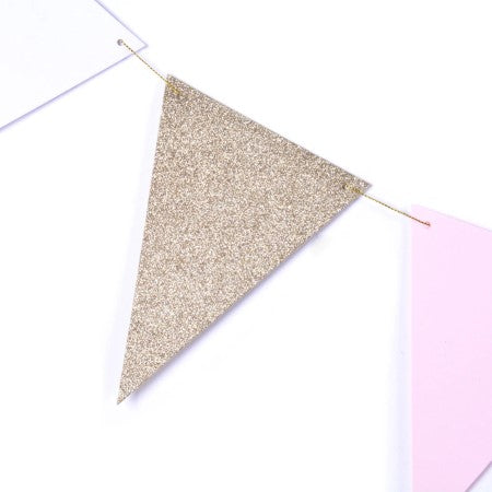 Gold, Pink and White Glitter Triangular Bunting I Modern Decorations I My Dream Party Shop I UK