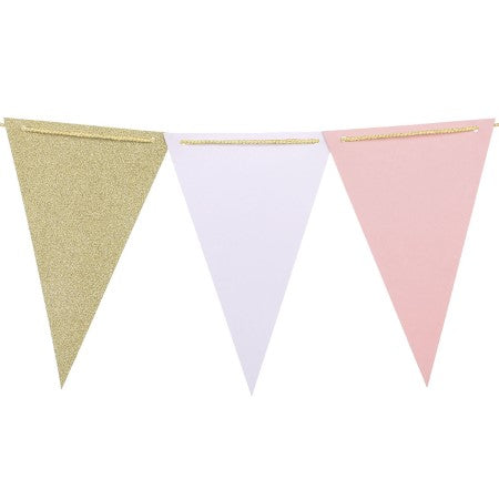 Gold, Pink and White Glitter Triangular Bunting I Pink & Gold Decorations I My Dream Party Shop I UK