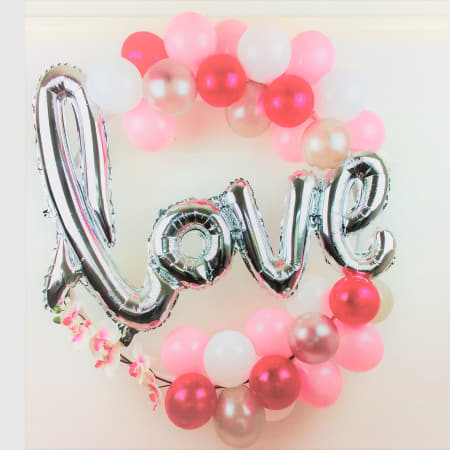 Pink, White and Silver Love Balloon Hoop Decoration Kit I Engagement, Anniversary or Wedding Hoop Decoration I My Dream Party Shop I UK