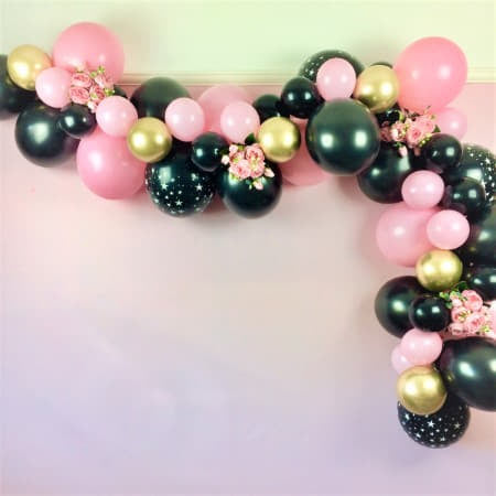Modern Black, Pink and Gold Chrome Balloon Garland Kit I Hen Party Decoration I My Dream Party Shop