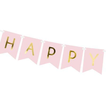Baby Pink and Gold Happy Birthday Garland I Pretty Party Garlands I My Dream Party Shop UK