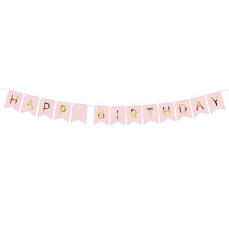 Baby Pink and Gold Happy Birthday Garland I Pretty Pink Party Decorations I My Dream Party Shop UK
