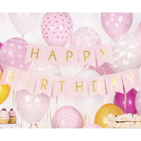 Baby Pink and Gold Happy Birthday Garland I Modern Party Decorations I My Dream Party Shop UK