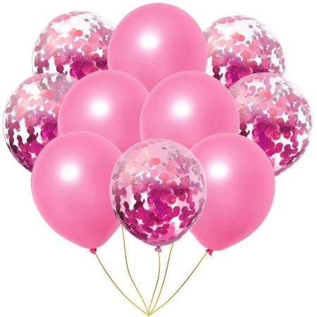 Pale Pink and Pink Metallic Confetti Balloons x 10 I Cool Pretty Pink Balloons & Decorations I My Dream Party Shop I UK