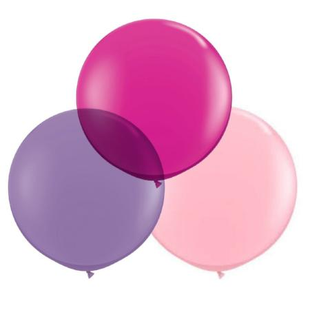 "Pink and Purple 24"" (2ft) Latex Balloons 3pk - My Dream Party Shop"