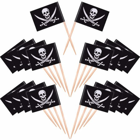 Black Pirate Skull and Crossbones Flag Cupcake Toppers I Pirate Party Tableware & Decorations I My Dream Party Shop I UK