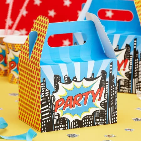 Pop Art Superhero Party Boxes Ginger Ray I Cool Boys Birthday I My Dream Party Shop I UK