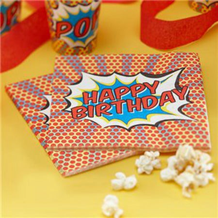 Pop Art Superhero Happy Birthday Napkins - My Dream Party Shop