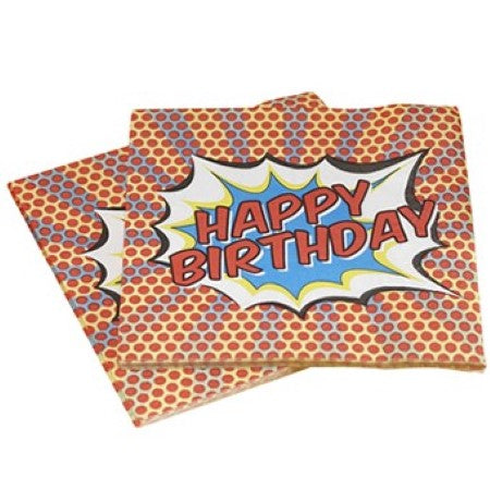 Pop Art Superhero Happy Birthday Napkins I Ginger Ray I My Dream Party Shop I UK