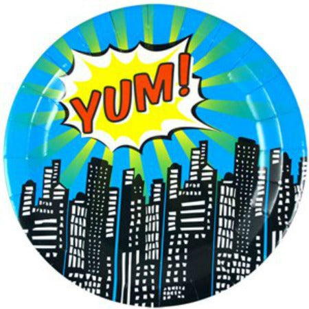 Pop Art Superhero Party Plates - 23cm - My Dream Party Shop