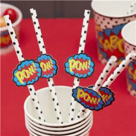 Pop Art Superhero Drinking Paper Straws with Flags - My Dream Party Shop